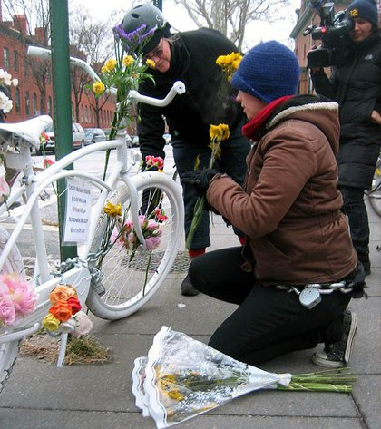 A memorial for Julian Miller at Green Avenue and Washington Avenue in Clinton Hill. Miller was killed in September when the rapper Common's cousin, Ajile Turner, allegedly hit Miller with his Kawasaki.