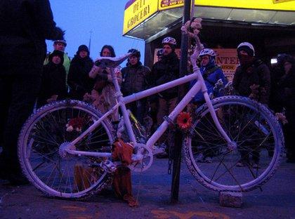 A Ghost Bike for Eliseo Martinez, who will killed in Bushwick in September.
