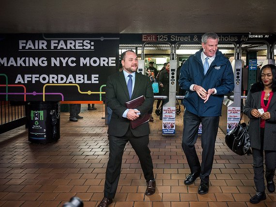 Mayor Bill de Blasio and Council Speaker Corey Johnson hold a joint appearance to announce the details of a half-priced MetroCard program.