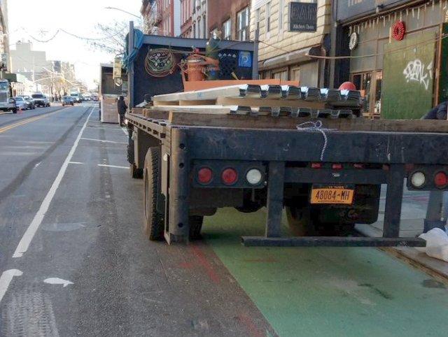 The Grand Street bike lane in December 2018.