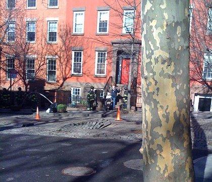Buckled paving stones on Joralemon Street.