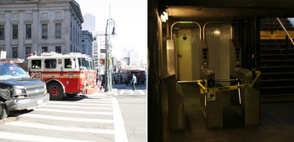 Outside and inside the Borough Hall subway station. J.Matthew Cahill