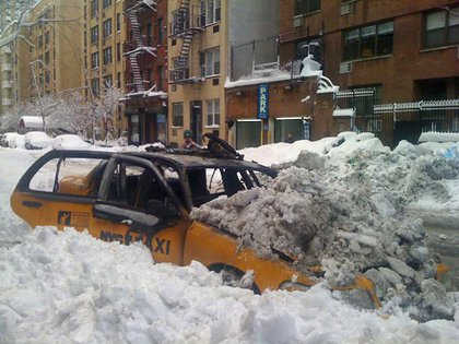 The burnt out cab on 2nd Avenue and 71st Street