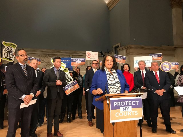 Assemblywoman Michaelle Solanges at a press conference discussing the proposed legislation.
