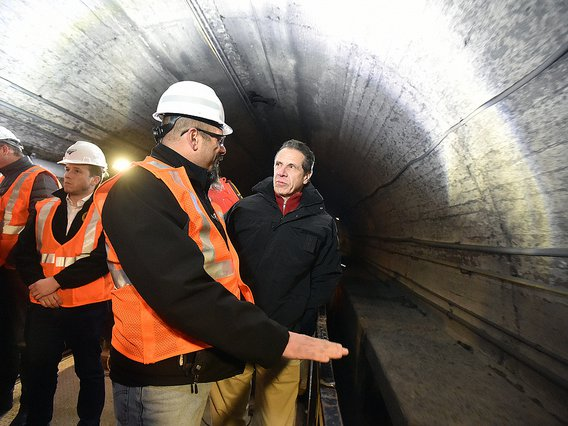 Governor Andrew Cuomo tours the Gateway tunnel in December 2018.