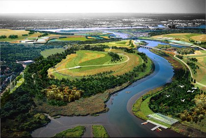 A bird's-eye view rendering of the park when completed.