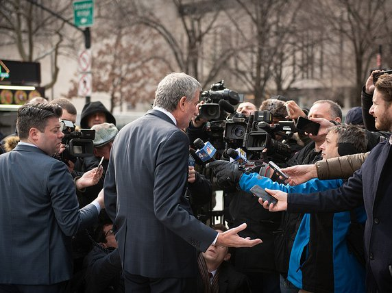 Mayor Bill de Blasio at  a press conference today.