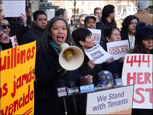 HPD Commissioner Maria Torres-Springer at Wednesday's tenant rally