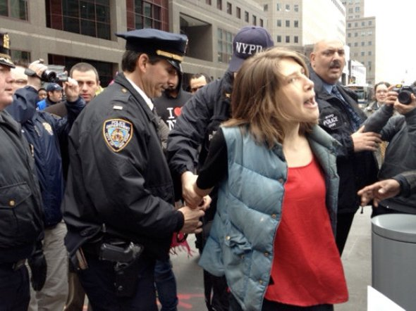 """Courtesy Allison Kilkenny, who says this woman was the first to be arrested, for crossing the street """"when she had right of way."""""""