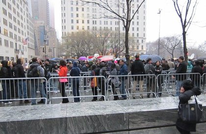 The line outside the Fifth Avenue Apple Store  .