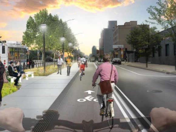 A rendering of the still unrealized Phase 4 bike lane