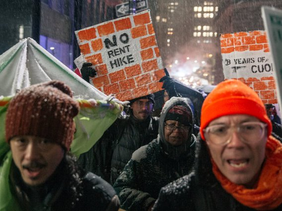 A march for rent reforms in NYC in November, 2018.