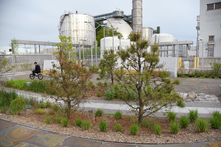 The third section of the Newtown Creek Nature Walk, with the wastewater plant's iconic digester eggs behind. May 7th, 2021