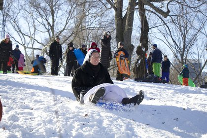 "A group of nuns went sledding in Central Park (<a href=""friedmanfotos.com"">Michael Friedman</a>)"