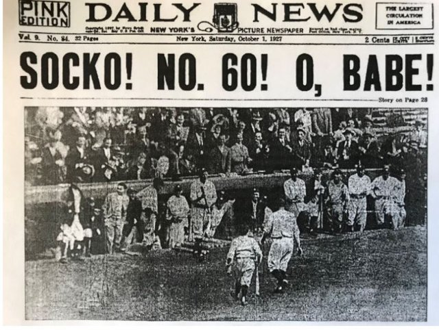 1927: Babe Ruth shatters major league baseball's single season home run record and the New York Daily News is on it.