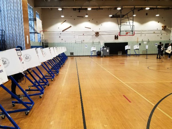A polling site in Carroll Gardens during February's special election for Public Advocate.
