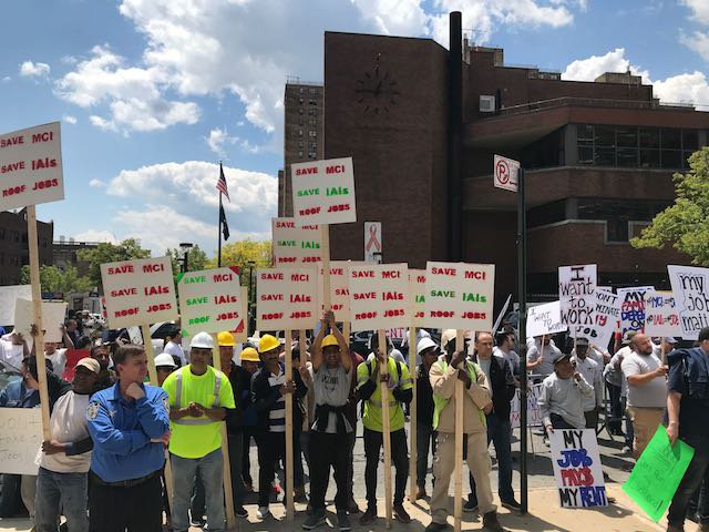 Contractors showed up to protest a hearing in May on rent reform at Medger Evers College.