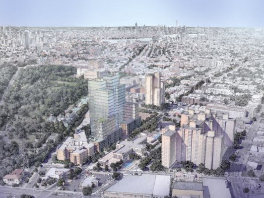 A rendering of 960 Franklin Avenue with the Brooklyn Botanic Garden at left.