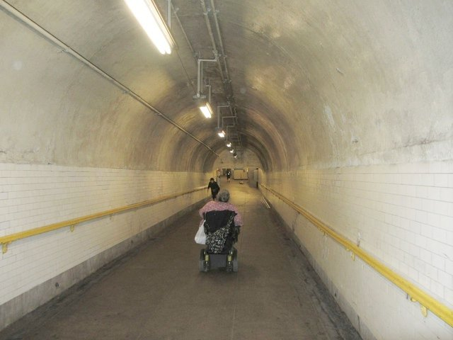 Accessibility advocate Edith Prentiss commuting by subway in 2013.
