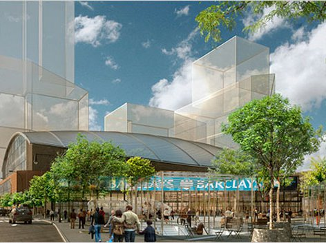 The new design for the Nets arena by architectural firm Ellerbe Becket.