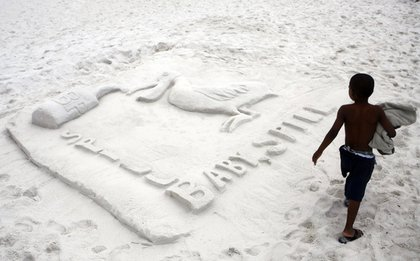 The winning sand sculpture in the Fiesta of Five Flags sand sculpture contest at Pensacola Beach, Fla.