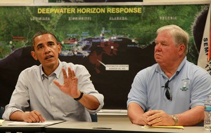 President Barack Obama, accompanied by Mississippi Gov. Haley Barbour, at the Coast Guard Station in Gulfport, Miss, today.