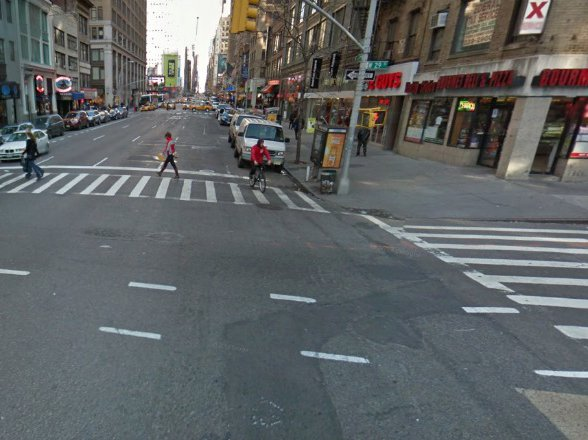 West 29th Street and 7th Avenue, where the cyclist was hit and killed.