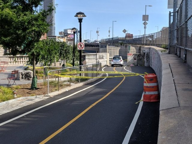 Bike lanes on the Manhattan Bridge were closed as police investigated the incident on Sunday