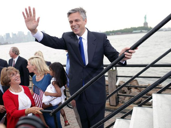 Jon Huntsman announcing his presidential campaign today at Liberty State Park