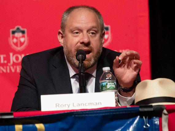 Council Member Rory Lancman speaks during a Queens District Attorney candidates forum at St. John's University in New York on June 13th, 2019.