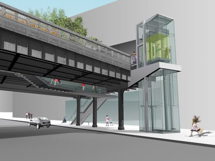 """'Slow stairs' rise from the 14th Street sidewalk, supplemented by an elevator. The stairs bring visitors up between the High Line's massive steel beams, while their legs and feet can be seen from the sidewalk below."""