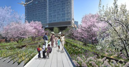"""The Gansevoort Woodland, overlooking Washington Street, features dense trees and plantings along the High Line's edge."""