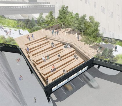 """Steps and ramps cut into an elevated square over 10th Avenue, allowing visitors to descend into the structure."""