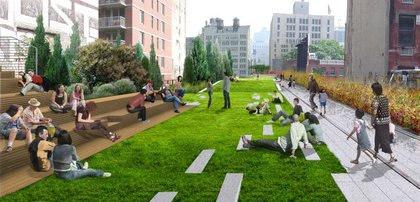 """The High Line's only lawn ""peels up"" at 23rd Street, where the High Line widens, providing crosstown views of the Manhattan skyline and the Hudson River. A stepped seating feature adds another layer of use to this central gathering area."""