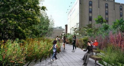 """Where the High Line begins to narrow in Chelsea,plantings grow denser, with shrubs and trees adding a variety of textures."""