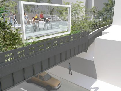 """A spur of the flyover's metal walkway brings visitors to a view over 26th Street. A viewing frame recalls the billboards that were once attached to the High Line."""