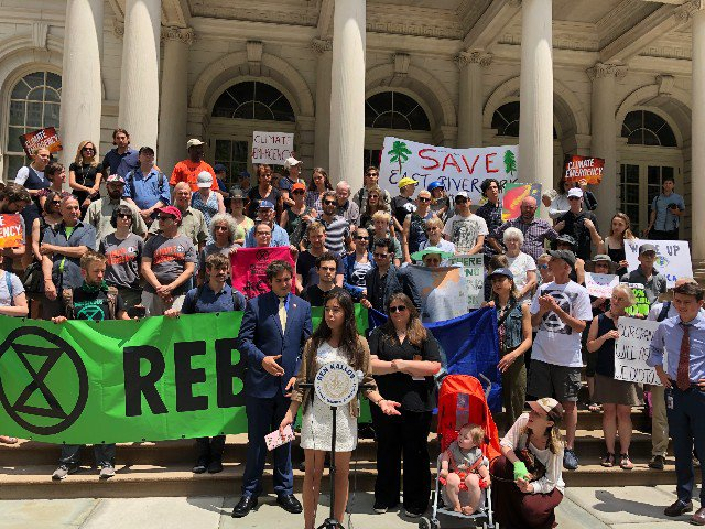 A City Hall rally on Tuesday demanding a resolution declaring a climate emergency.