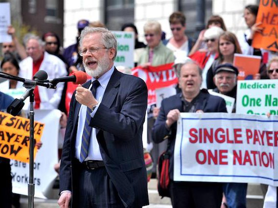 Richard Gottfried at a rally for single-payer healthcare in Albany.