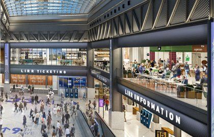 A new rendering of the Moynihan Train Hall<br>