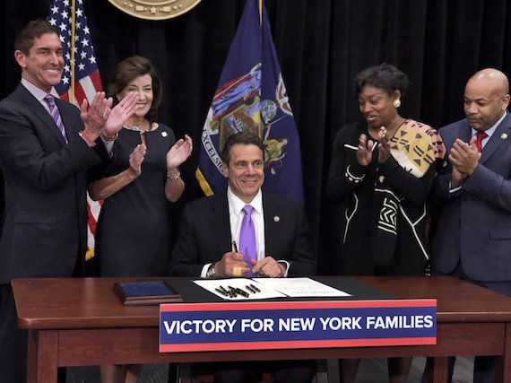 Cuomo with Andrea Stewart-Cousins, right, in 2015