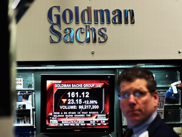 An arrow showing the alleged direction of racial acceptance at Goldman.