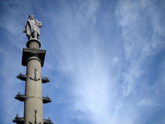 Gaetano Russo's Christopher Columbus statue overlooks Columbus Circle