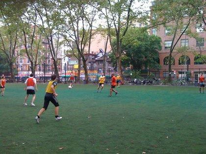 New York's Boldest kicking the soccer ball around at Sarah Roosevelt Park instead of cowering in a corner.