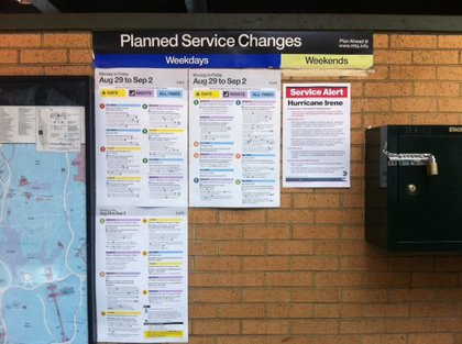 "Hey, what's the ""Irene"" service change? Bah, probably a fare hike."