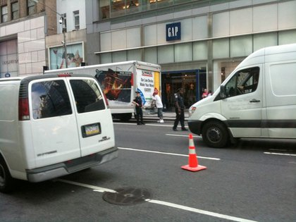 """Twitter user @Eddie_Megia writes, """"NYPD is performing random searches on vehicules.. Feeling pretty safe."""""""