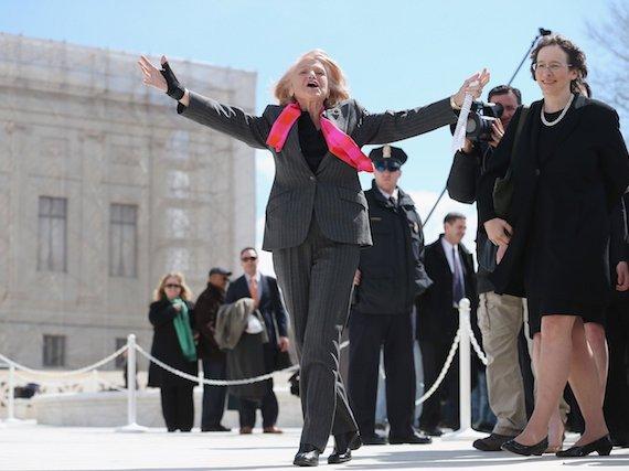 Windsor, outside the Supreme Court after oral arguments in Windsor v. United States