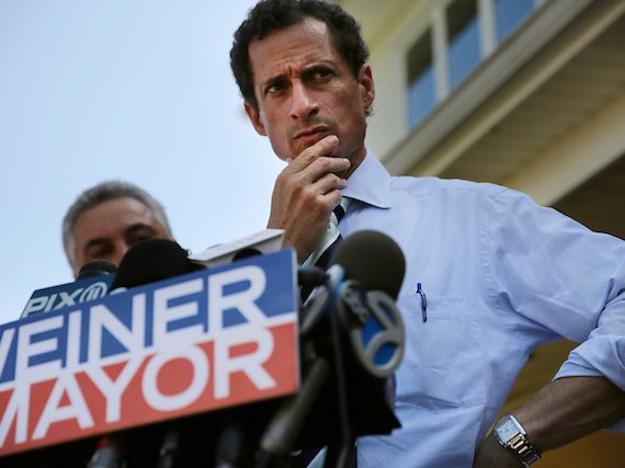 Weiner, seen here pondering the mysteries of getting horned up online.