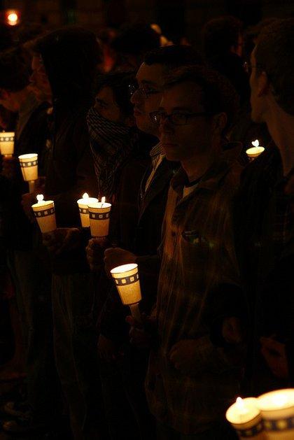 A candlelight vigil held last night.