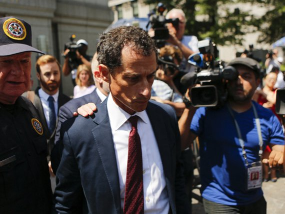 Anthony Weiner exits federal court in Manhattan after pleading guilty in sexting case on May 19