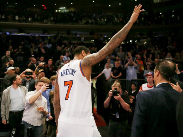 Carmelo Anthony leaves the court after a Knicks win over the 76ers last year.